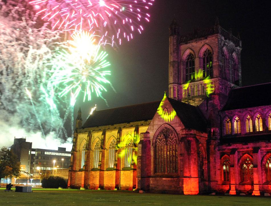 Paisley skyline sees an explosion of colour