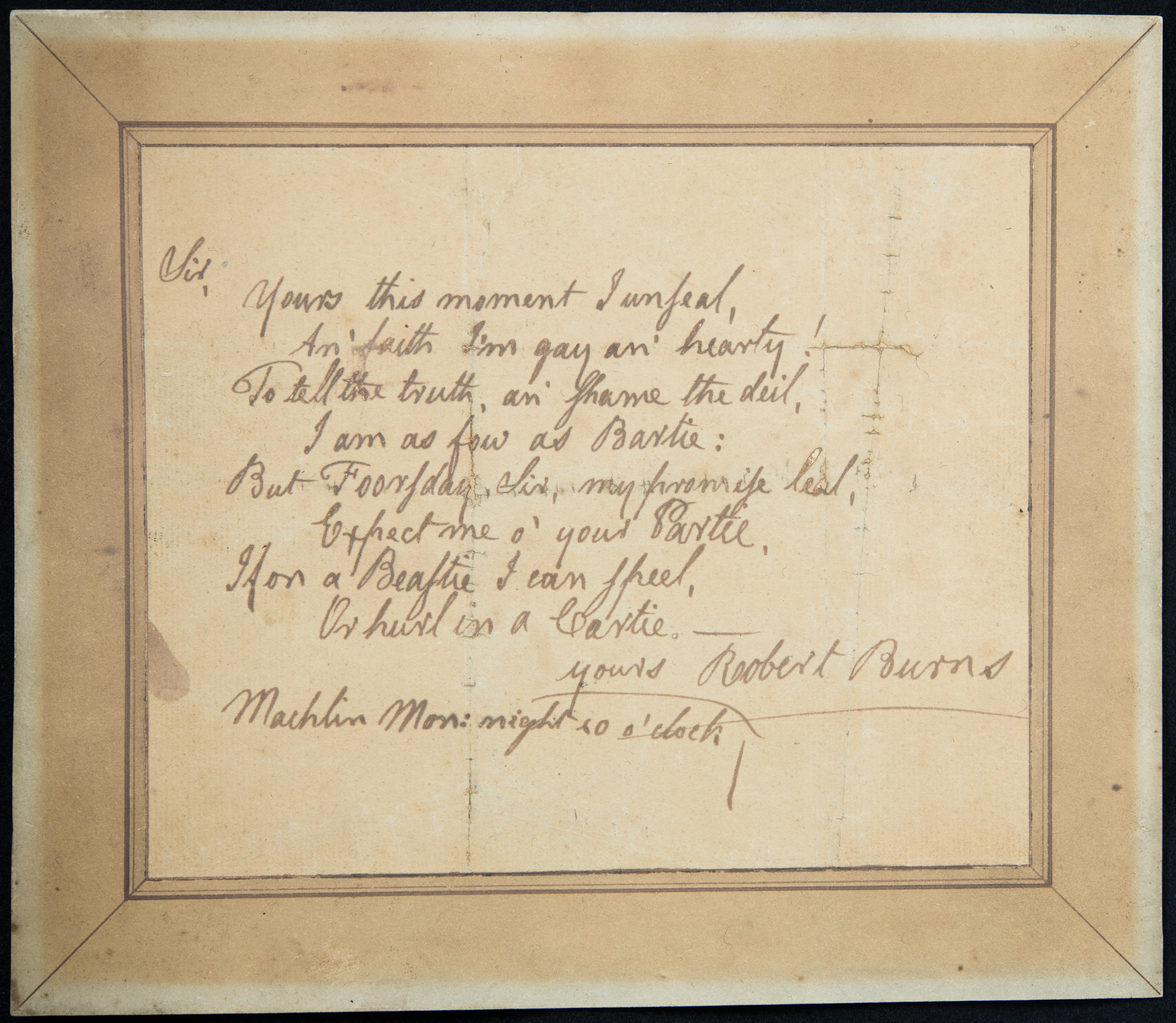 Rediscovered Burns Manuscript to go on show